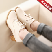 2014 Autumn new Korean thick with leather Single shoes with lace deep mouth round comfort shoes oxford shoes women