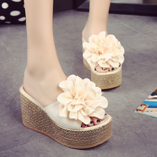 One word fashion thick bottom ultra-high heel women's flower muffin slippers