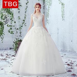婚纱礼服2016新款新娘简约双肩齐地显瘦一字肩拖尾韩式v领夏季女婚纱