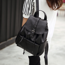 Ms. Hanban PU leather shoulder bag lady bag fashion simple backpack college style middle school students backpack leisure travel bag