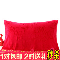 A pair of all-cotton padded long soft genuine cartoon couples celebrates double red kerchief