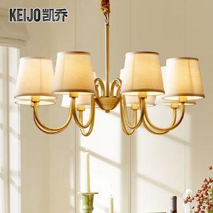 美式吊灯全铜灯欧式客厅灯简约卧室灯乡村田园餐厅灯温馨现代灯具吊灯
