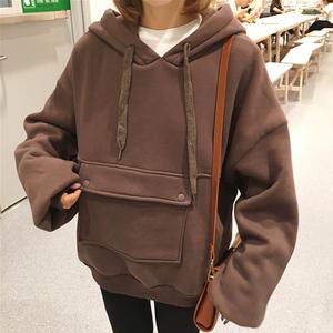 2017韩版春季女装宽松抽绳连帽卫衣女学院风长袖加绒打底卫衣外套外套女