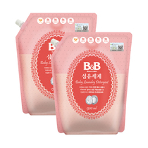 (CAT supermarket) South Korea imported B&B Ning 1300ml*2 packaged fiber baby laundry liquid washing