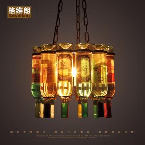 美式复古乡村LOFT创意个性酒吧台漫咖啡餐厅玻璃酒瓶铁艺装饰吊灯酒瓶吊灯