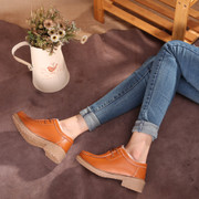 Winter Korean version of lace plus veet padded leather flat shoes with non-slip casual singles cotton warm Mom Shoes