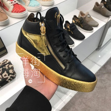 Overseas authentic Giuseppe Zanotti high shoes men's shoes, gold plated sawtooth GZ shoes, casual shoes