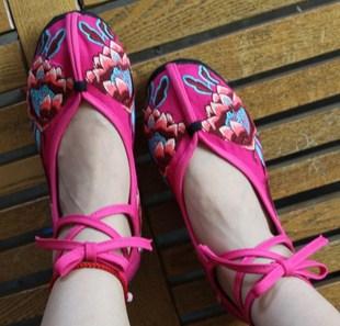 秋女鞋老北京布鞋单鞋云南绣花鞋民族风鞋子平跟绑带千层底妈妈鞋