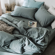 Nordic pure color extremely simple wind bedding 60 nude sleep water washed cotton four piece complete cotton pure cotton bed sheet quilt cover