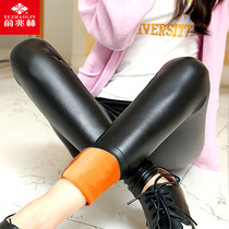 Yuzhaolin leather and velvet padded tight black plus size leather pants