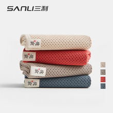 Sanli pure cotton gauze big towel washes the face household adult couple increases the thickening water absorption soft facial towel 2 packs