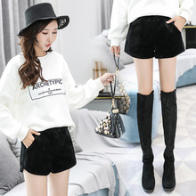 Shorts women's new style in autumn and winter 2019 wear autumn winter woolen bottoming, wide legs, high waist, thin boots and pants trend
