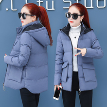 Large pocket Korean version thin hooded cotton padded jacket