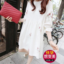 Maternity spring top Korean cotton embroidery dress loose large cotton hemp White Maternity Skirt spring summer