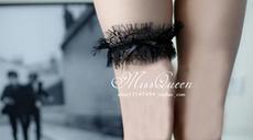 Подвязка missqueen女王小姐 黑白睫毛蕾丝腿环足环可爱情趣小物(一只装)
