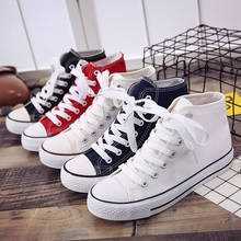 New style flat bottom canvas shoes of gaobang in street photography in spring