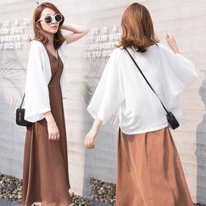 防晒衣女短款夏季和服外搭开衫薄外套百搭白色小披肩薄款空调衫空调衫