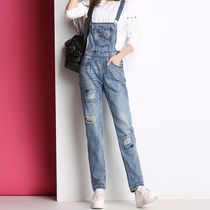 Korean female feet long hole loose denim bib pants spring 2017 new nine-point jump suits students