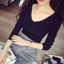 Autumn and winter 2019 new V-neck tight bottoming top women's long sleeve slim fit Pullover Sweater knitwear