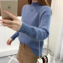 Core spun autumn and winter fashion Pullover solid half high collar sweater