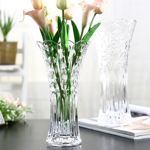 欧式大号玻璃透明花瓶 客厅摆件插花水培富贵竹百合干花落地饰品干花