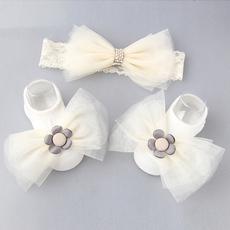 出口韩国原单 宝宝发带船袜三件套装 高档婴儿百日周岁宴会发带