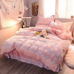 炫耀水星家纺珊瑚绒四件套水晶宝宝绒冬季加厚被套床单法莱法兰绒四件套