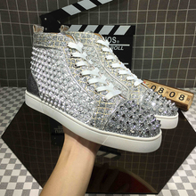 Genuine leather high silver rivet drill shoes