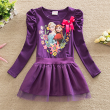 Spring new dress girl's pure cotton cartoon ice snow Qiyuan dress lovely baby princess skirt