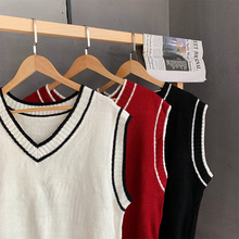 Korean style V-neck sleeveless sweater vest in autumn and winter