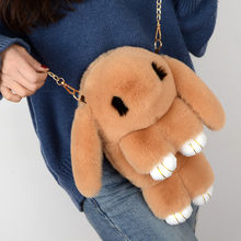 The new Korean version of the fluffy rabbit bag in 2019 is cute and dead. Children's backpack chain straddles women's bag with one shoulder and one shoulder.