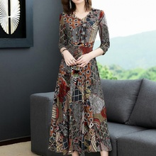 Large size dress with pocket 2019 new women's spring and summer skirt mother's long dress for middle-aged and elderly