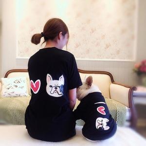 宠物亲子装春夏款T恤法斗衣服巴哥泰迪雪纳瑞小型犬两脚纯棉透气法斗服装