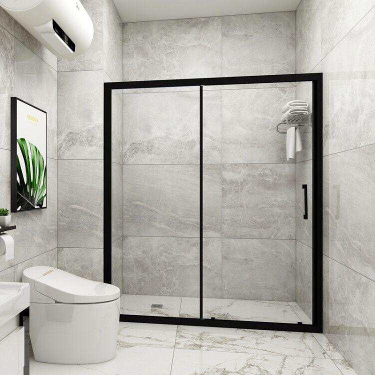 诗洛曼淋浴房隔断一字形整体浴室卫生间钢化玻璃移动门浴屏沐浴房