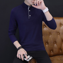 2019 long sleeve t-shirt men's cotton t-shirt men's stand up collar bottoming shirt spring and summer top autumn long sleeve 95 cotton Slim Fit Shirt