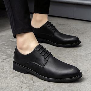 夏季商务休闲皮鞋男英伦圆头韩版真皮正装系带黑色青年内增高男鞋皮鞋
