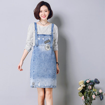 2017 new straps from spring to summer dresses cotton denim slim skirt student fashion skirts