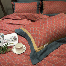 Foreign trade pure cotton color matching lattice sanding four pieces of cotton thickening warm autumn winter bedding contracted men's Suite