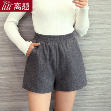 High waisted woolen thin elastic waisted thickened shorts