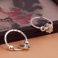 999 pure silver female genuine Earrings Fashion simple and versatile temperament student transport pearl ear ring ear ear allergy allergy