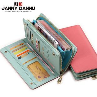 尊尼丹奴 2015新款女士钱包长款 时尚牛皮韩版拉链手包女手机包邮