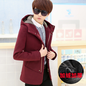 风衣男韩版修身中长款青少年冬季加厚毛呢外套加绒学生呢子大衣潮男士毛呢外套