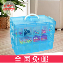 Storage boxes three-layer removable plastic transparent beaded jewelry storage box with check box buttons sewing