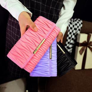 2015新款女士中长款包盖式手拿酷奇钱包流行时尚折叠式手机钱包