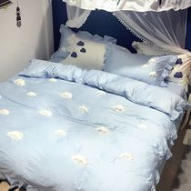 Ins Korea 60 soft clouds of satin cotton cute stereo four-piece set of exquisite lace sheets bedding