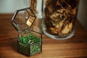 透明六边形首饰盒几何玻璃饰品收纳盒耳钉透明复古珠宝求婚戒指盒首饰盒