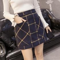 High waist Plaid wool slim slimming autumn and winter the Korean version of a dress