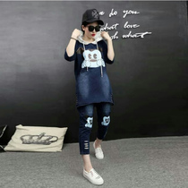 Fat mm hooded casual denim two piece set