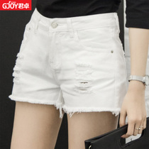 Loose holes in summer high waist Korean version of the thin white short shorts