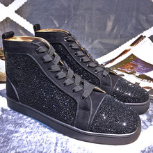 CL GZ VILLAGE men's shoes Olympic drill shoes high black diamond leather shoes